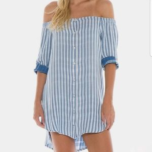 Cloth and Stone Off Shoulder Tunic Dress small